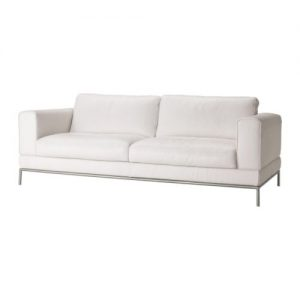 Elegant White Metal Leg Sofa