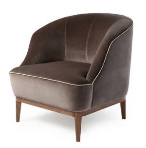 Chocolate Velvet Upholstered Chair