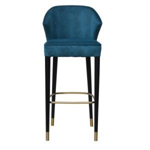 Brass Trimmed Upholstered Stool