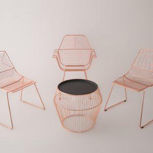 Rose gold wire furniture