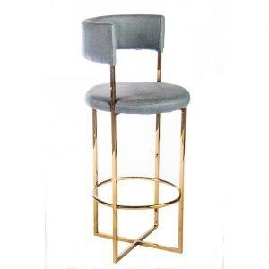 ROM grey velvet counter stool