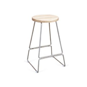 Natural Wood Metal Stool