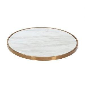 Brass Edged Round Marble Top