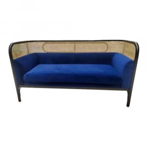 Rattan Velvet Sofa